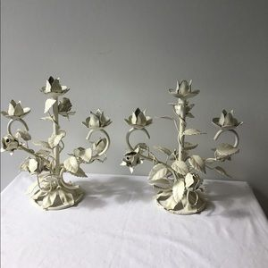 Brass candle stick holder painted white